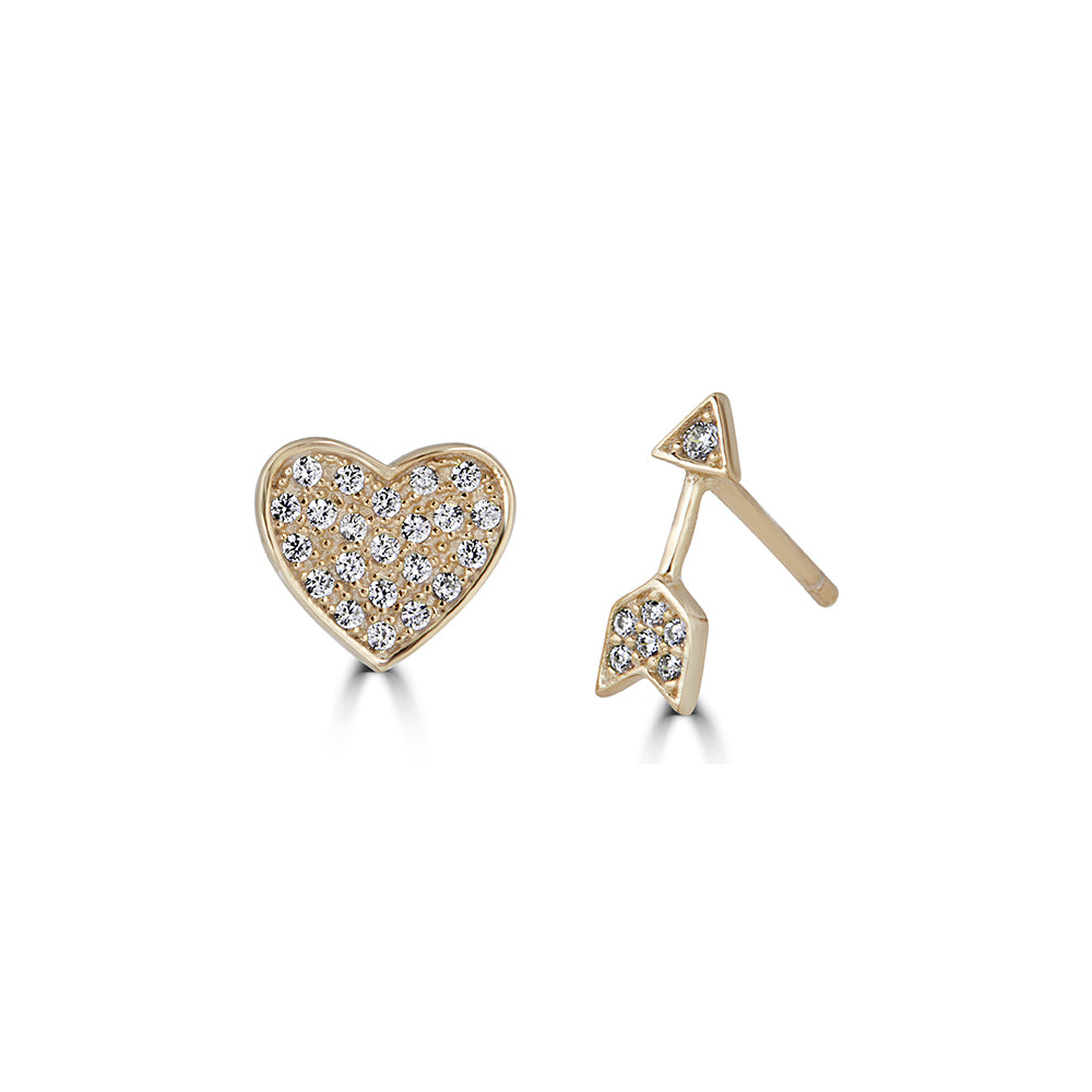 Stuck by Love Heart and Arrow Studs