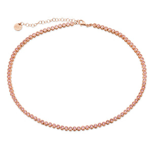 Pink Bezel Set Tennis Necklace