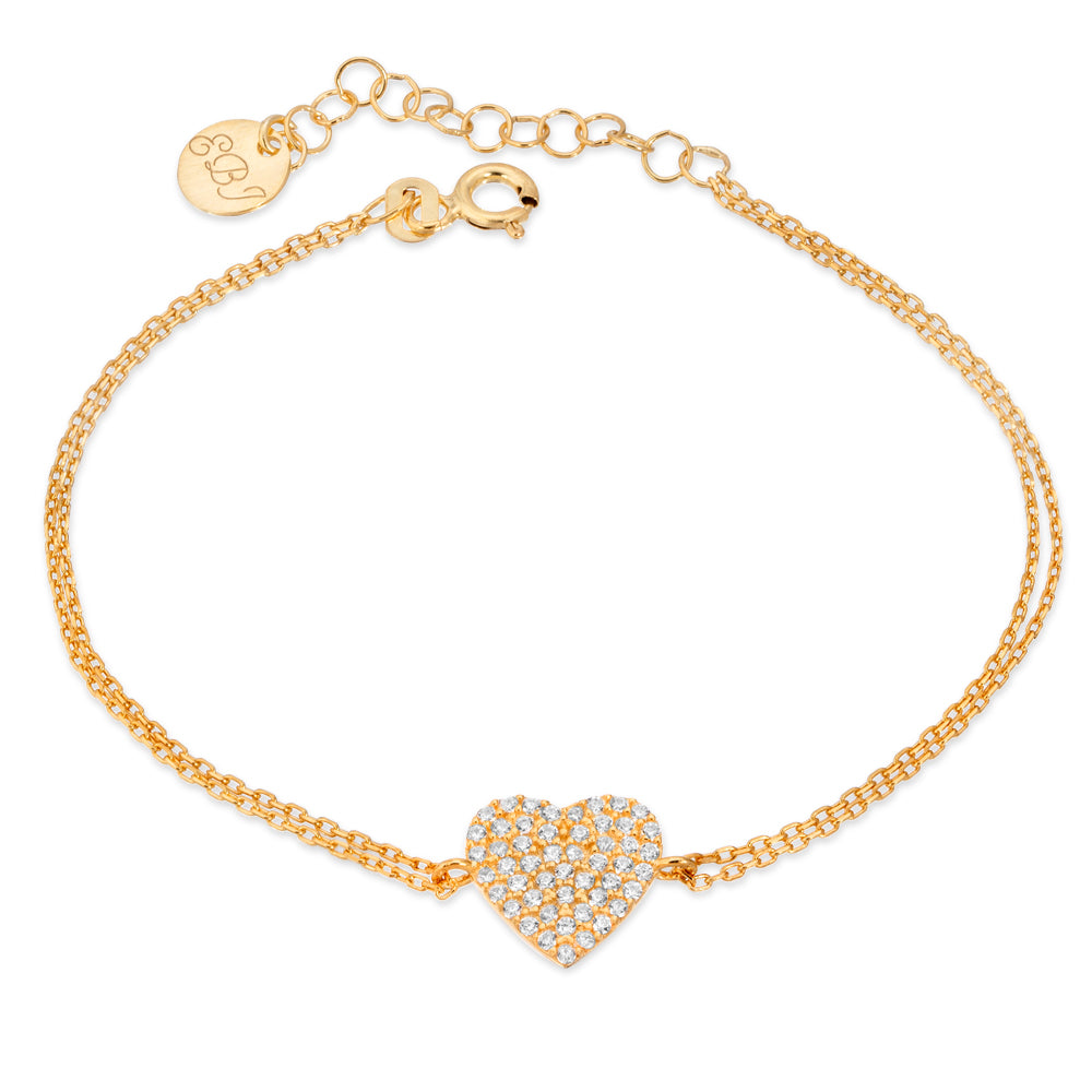 Pave Set Gold Heart Bracelet