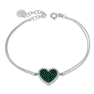 Pave set heart bracelet