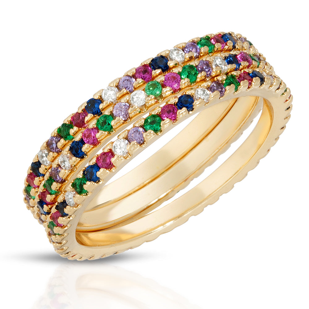 Slim Rainbow Eternity Bands