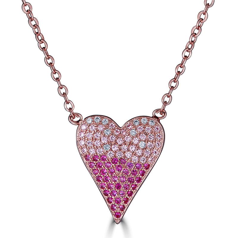 Pave Pink Heart Necklace