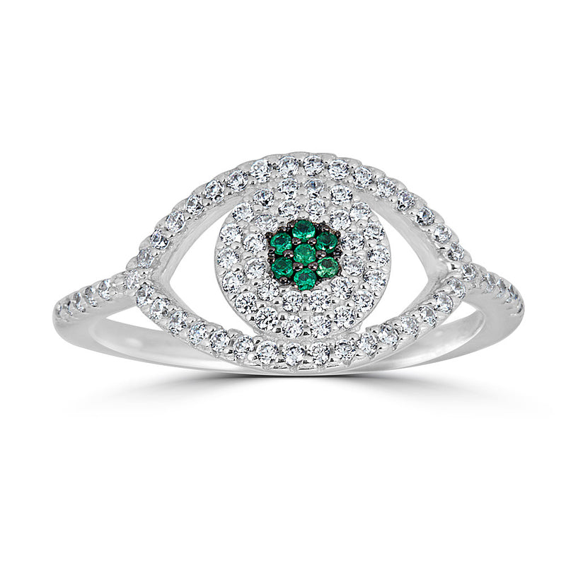 Pave Evil Eye Ring with Emerald Center