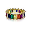 Emerald Cut Rainbow Band