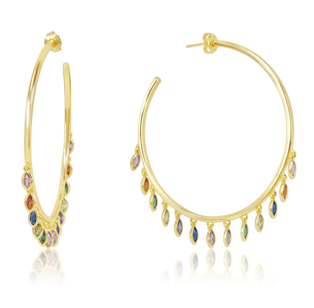 Large Marquise Shaker Hoops