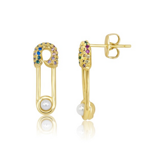 Safety Pin Pave Studs