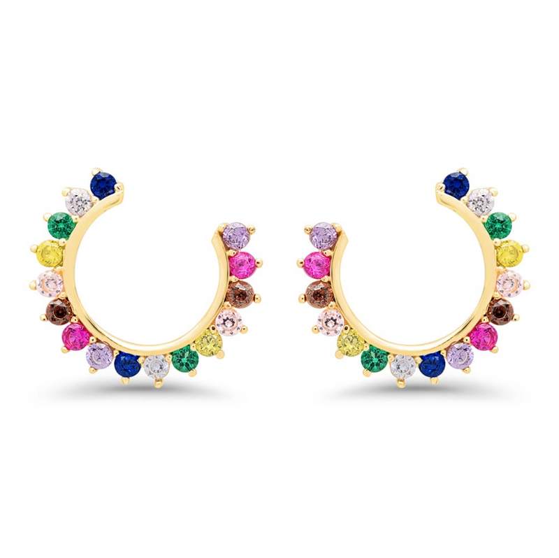Rainbow Side Hoops