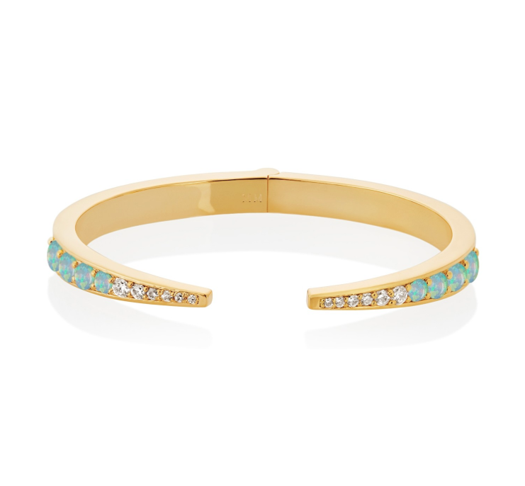 Gold Opal Claw Cuff with CZ
