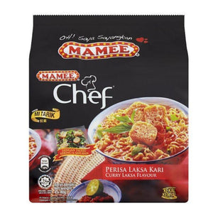 Mamee Chef Curry Laksa Flavour Instant Noodles 4 x 80g (Groceries) - Travel Recommends Shop