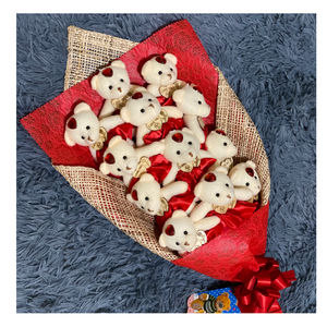 Red Bears with Hearts Bouquet