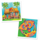 Batik Painting 2-In-1 Box - Design Kampung House and Wau - Travel Recommends Shop