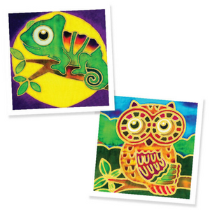 Batik Painting 2-In-1 Box - Design Chameleon and Owl - Travel Recommends Shop