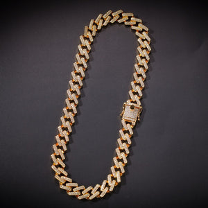 Diamond Prong Cuban Link Choker in Gold (14mm)