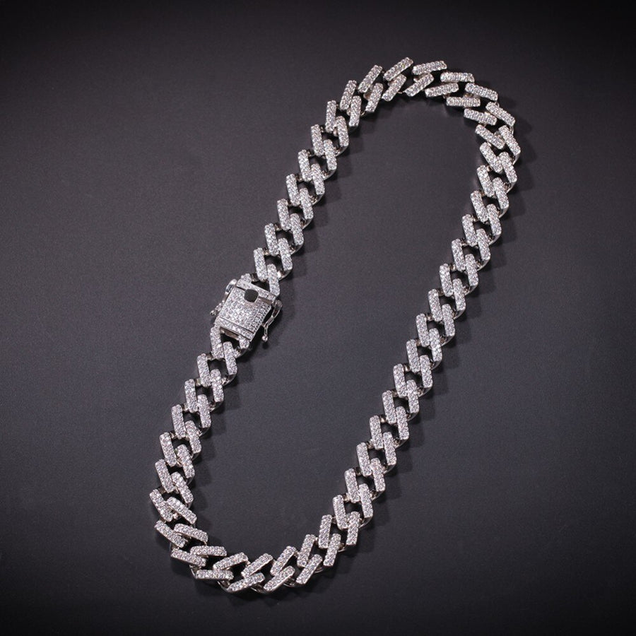 Diamond Prong Cuban Link Choker in Silver (14mm)