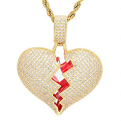 Iced Broken Heart Pendant