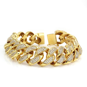 Diamond Cuban Link Bracelet in Yellow Gold (18mm)