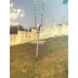 Iced Nail Cross (Silver)
