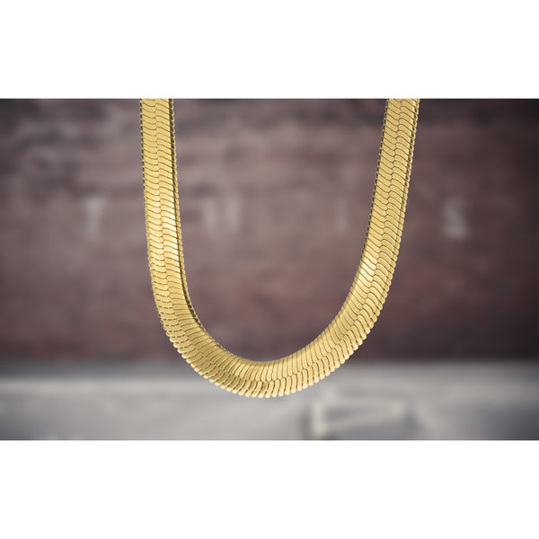 10mm Gold Plated Herringbone Chain