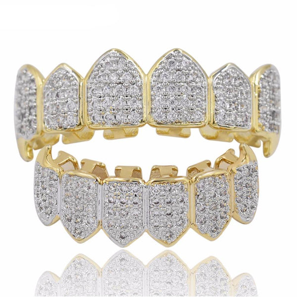 Iced Out Cluster CZ Premium Gold Grillz
