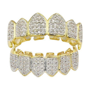 Iced Cluster Gold CZ Diamond Premium Grillz