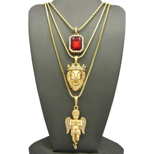 King Lion Angel Red Ruby Pendant Set