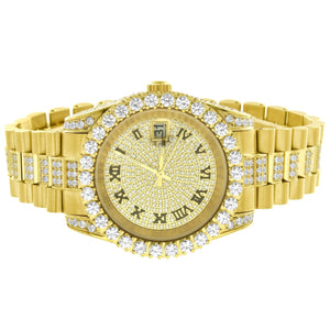 Iced Gold Tone Stainless Steel Watch Solitaire