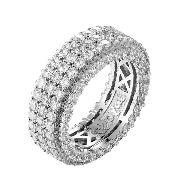 Iced Out Sterling Silver 3 Rows Ring