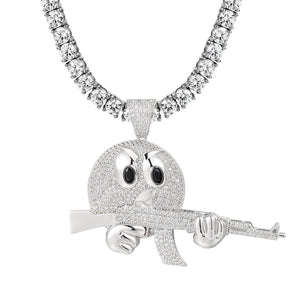 Emoji With Gun Silver