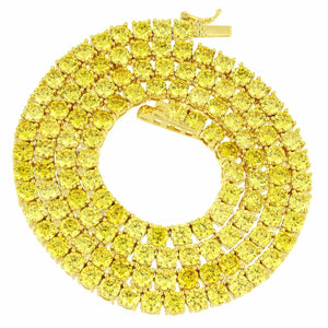 "24"" Iced Tennis Necklace Yellow 1 Row 4mm"