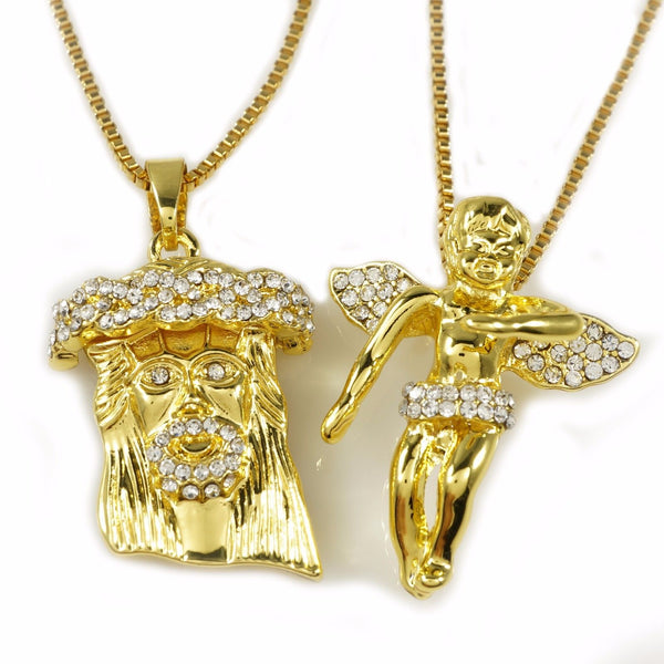 Jesus & Angel Gold Plated Pendant Set