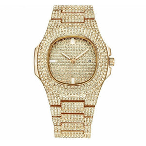 Shiny Square Iced Gold Watch
