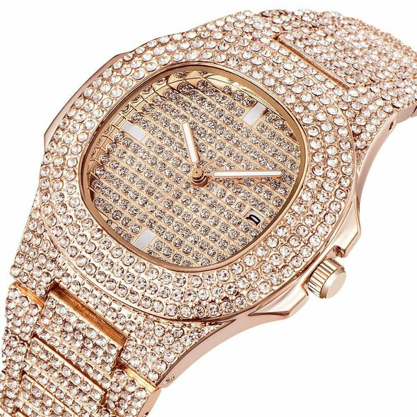 Shiny Square Iced Rose Gold Watch