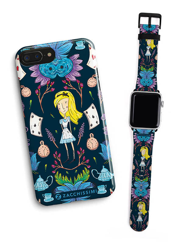 Wonderlust | Alice in Wonderland Inspired iPhone Phone Case with matching Apple Watch Strap