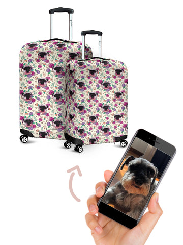 Travel Luggage Cover Purple Flower Love Heart Romantic Suitcase Protector