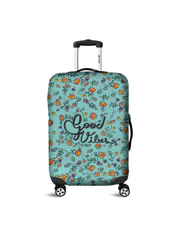 Luggage Cover | Good Vibes Blue, , Zacchissimi, pattern, design