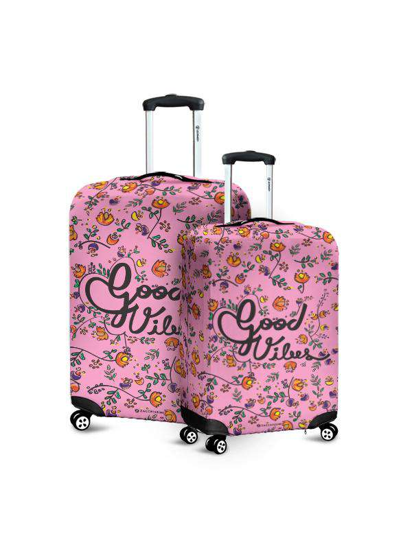 Luggage Cover | Good Vibes Pink