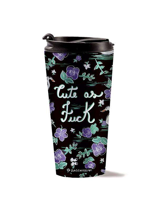 Stainless Steel Mug - Cute as Fuck, Travel Mugs, Zacchissimi, pattern, design