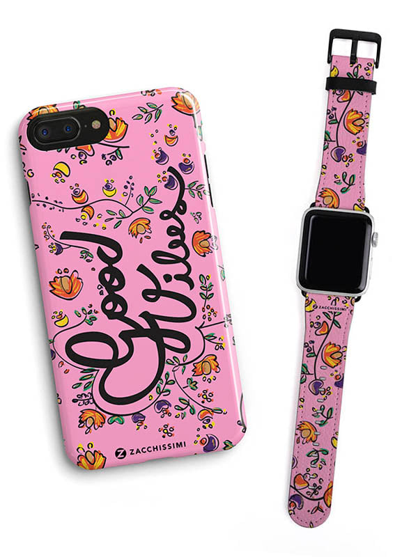Kit Phone Case & Watch Strap | Good Vibes Pink