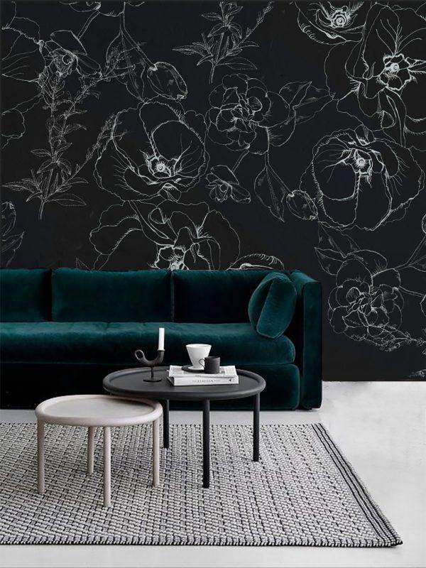 Wallpower - Black Lily, wallpaper, Zacchissimi, pattern, design