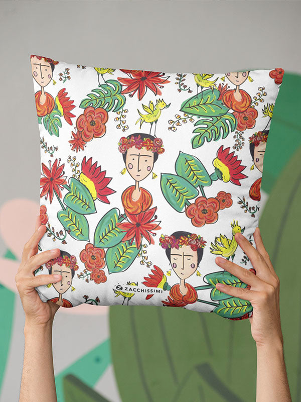 Frida Kahlo Inspired Cushion Throw Pillow | Tropicalia
