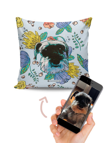 Cushion | Your Hand Painted Pet & Florals Blue