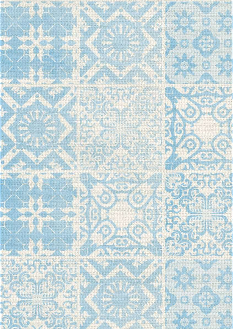 Printed Fabric - Tiles - Clear Blue, , Zacchissimi, pattern, design