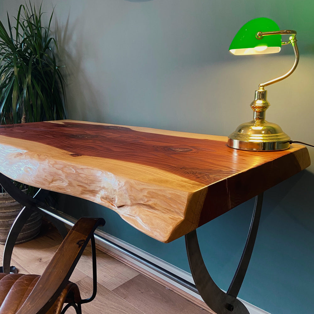 Sequoia Desk on Iron Cross Legs
