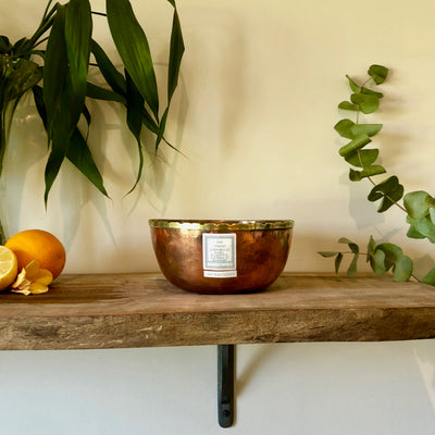 Centrepiece Candle - Copper Bowl with Brass Detailing - Lemon, Eucalyptus, Lavender & Rosemary