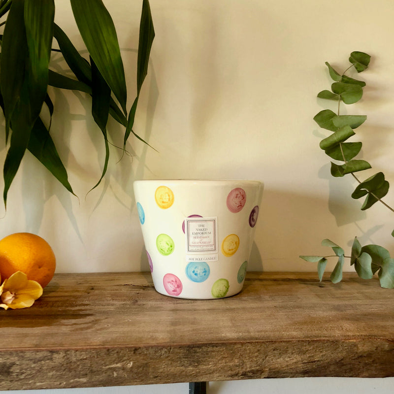 Centrepiece Candle - Colourful Spotty Ceramic Pot - Mandarin & Grapefruit