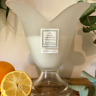 Pair of Centrepiece Candles - Glass Flower Vase - Mandarin & Grapefruit/Lemongrass & Rosemary