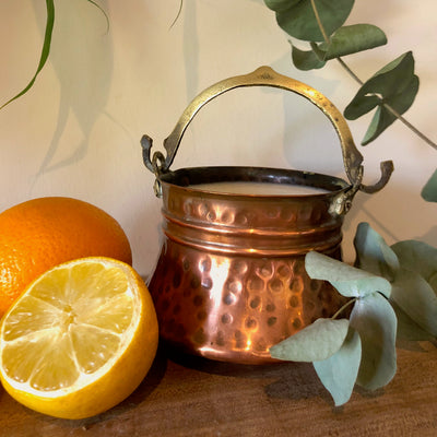Centrepiece Candle - Small Copper Cauldron