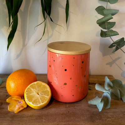 Centrepiece Candle - Ceramic Coral Jar With Wooden Lid- Made to order
