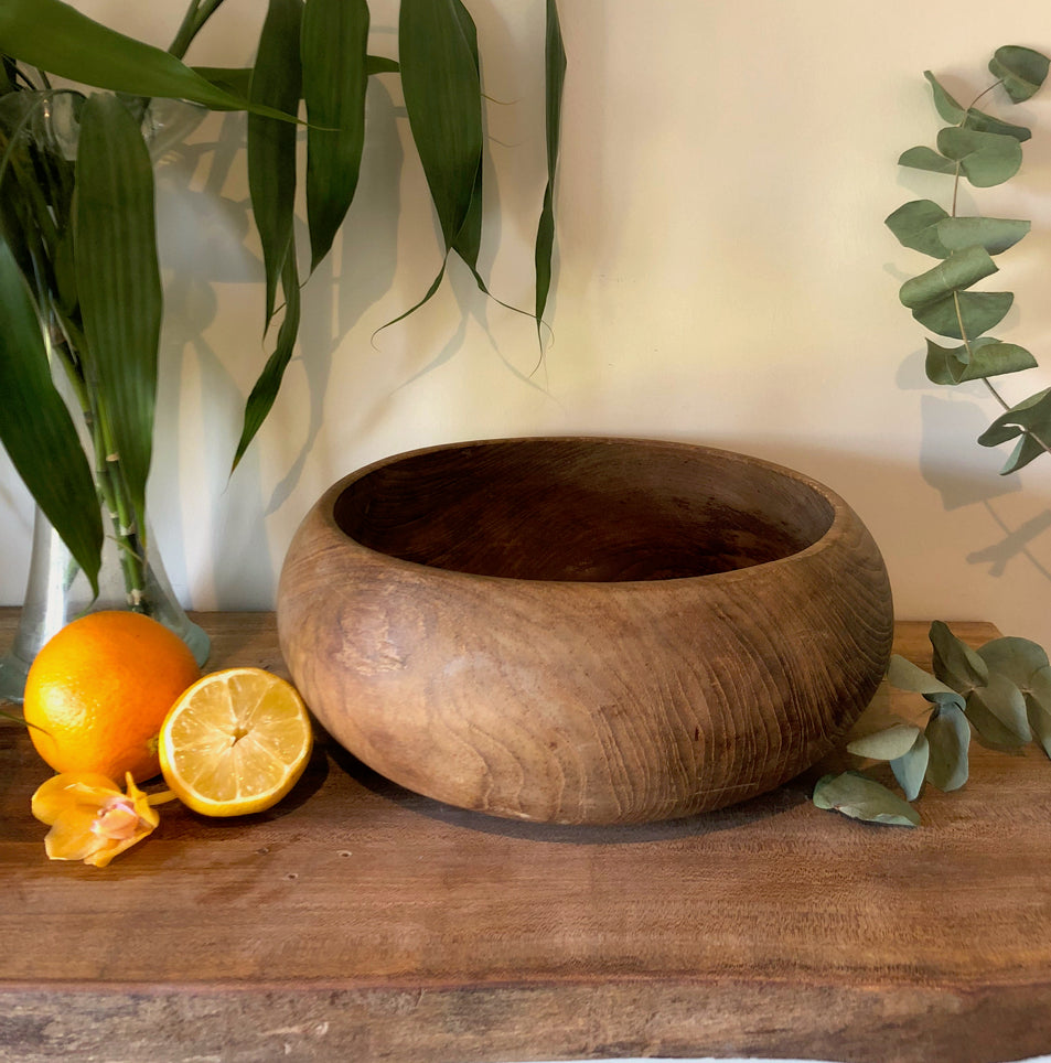 Centrepiece Candle - Rustic Round Wooden Bowl - Made to order