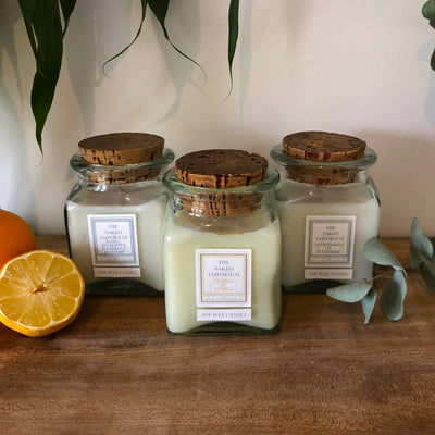 Trio of Centrepiece Candles - Vintage Glass Jar with Cork Stopper - Neroli & Lemon/Lemon, Eucalyptus, Lavender & Rosemary/Lemongrass & Rosemary